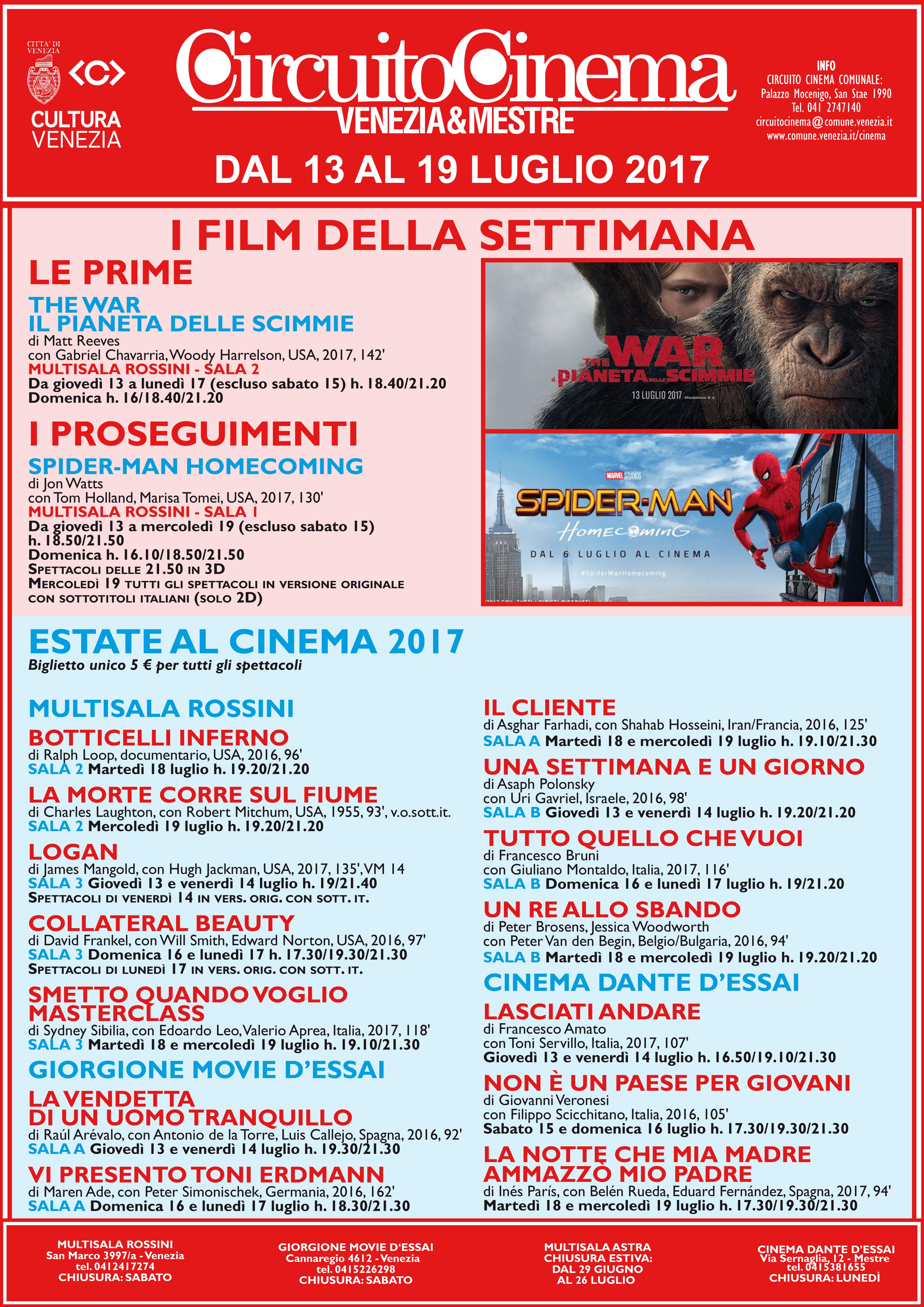 Locandina programmazione cinema dal 13 al 19 luglio 2017