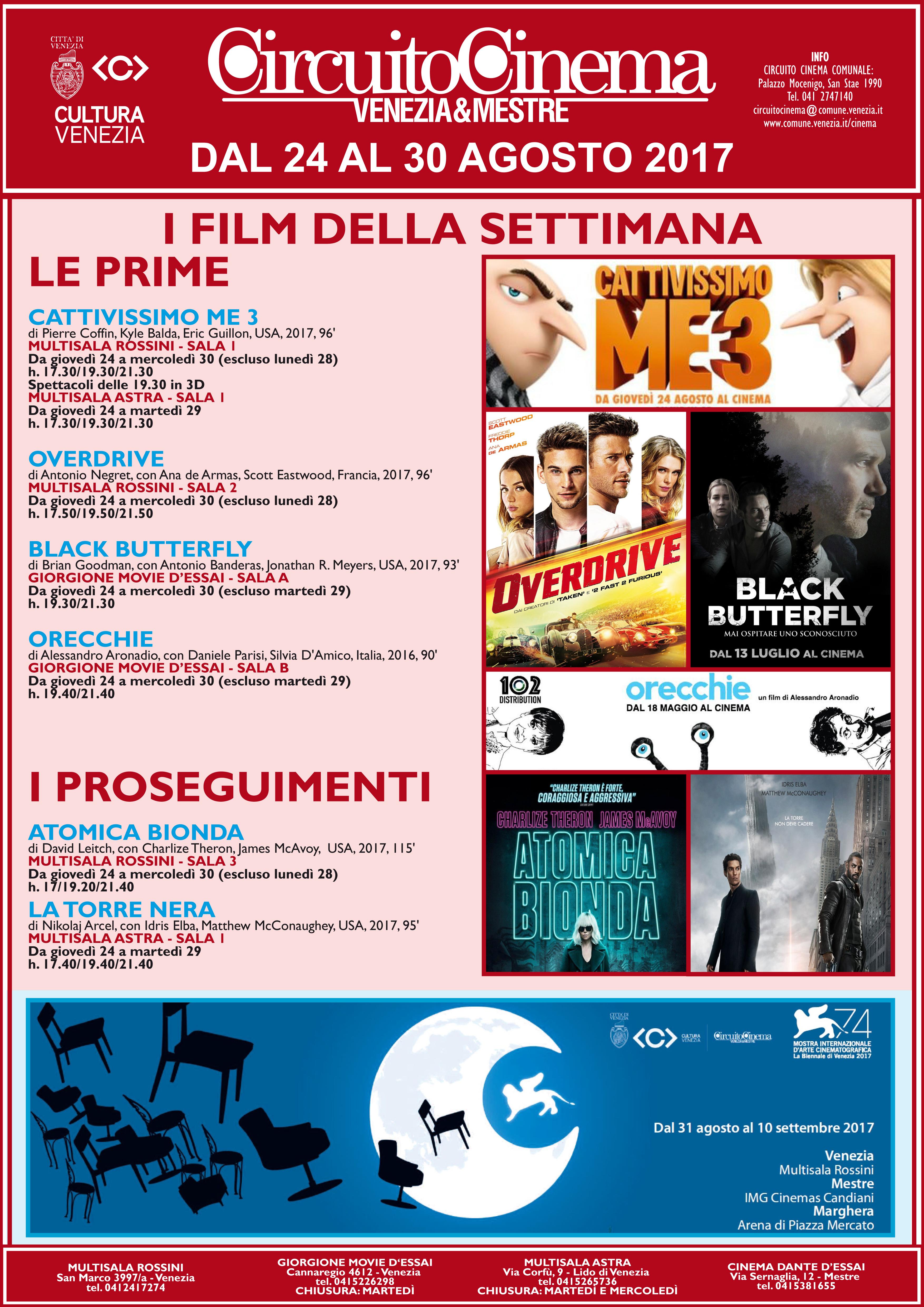 Locandina programmazione cinema dal 24 al 30 agosto 2017