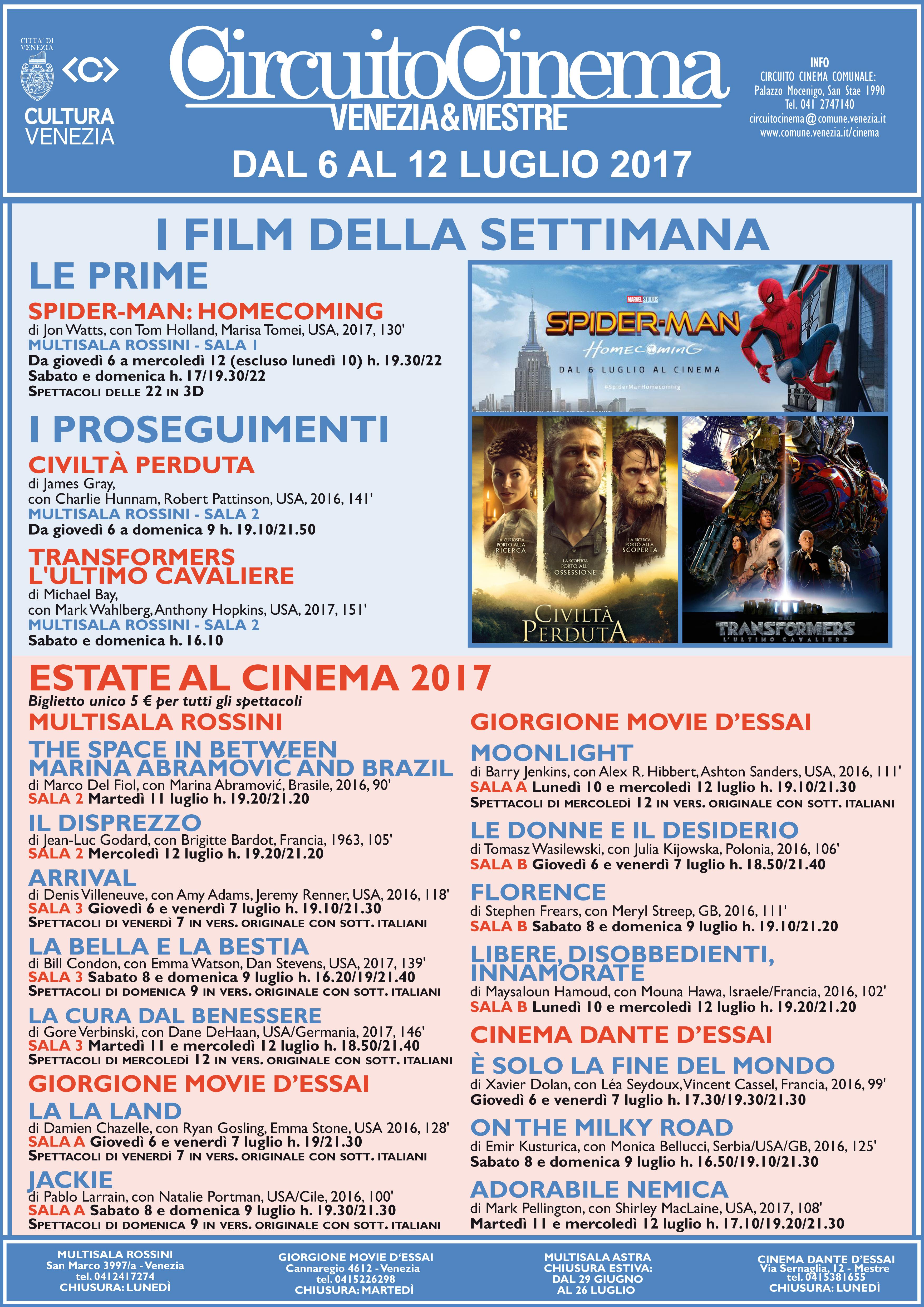 Film Circuito dal 6 al 12 luglio 2017