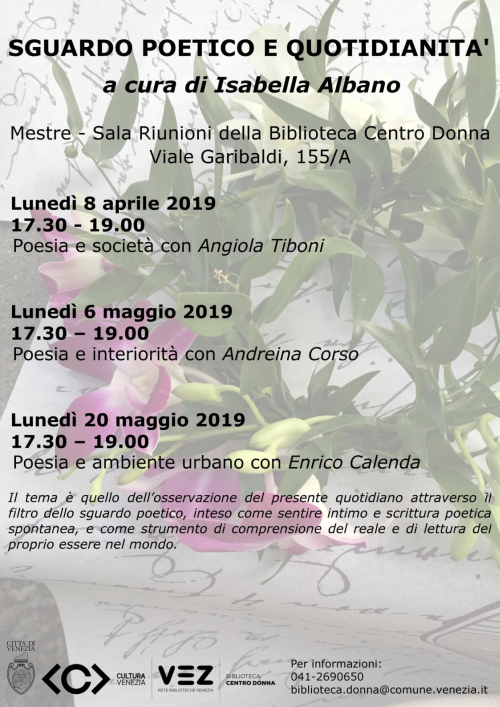 Locandina incontri Sguardo poetico primavera