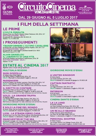 Locandina programmazione cinema dal 22 al 28 giugno 2017