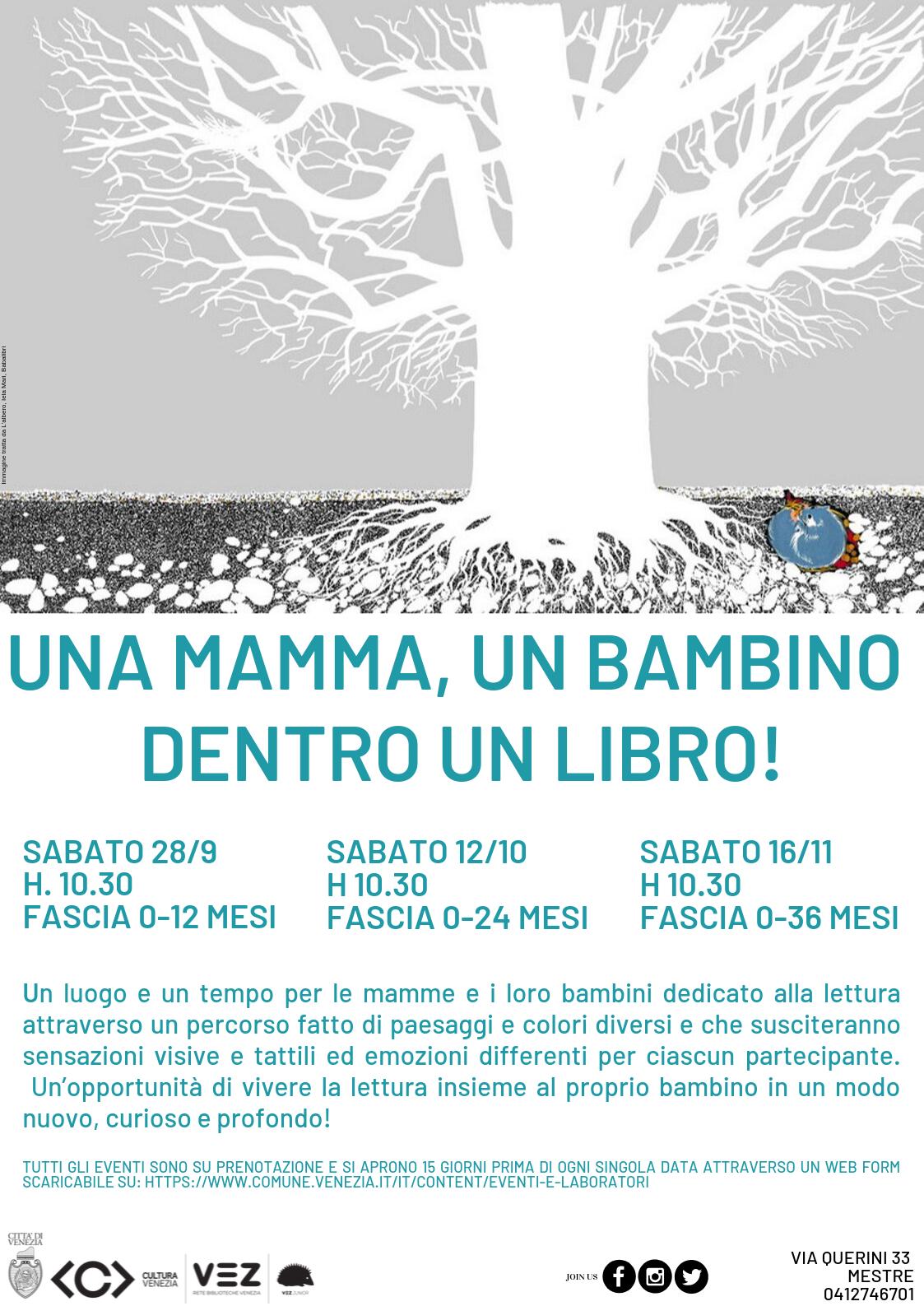 Una mamma, un bambino dentro un libro