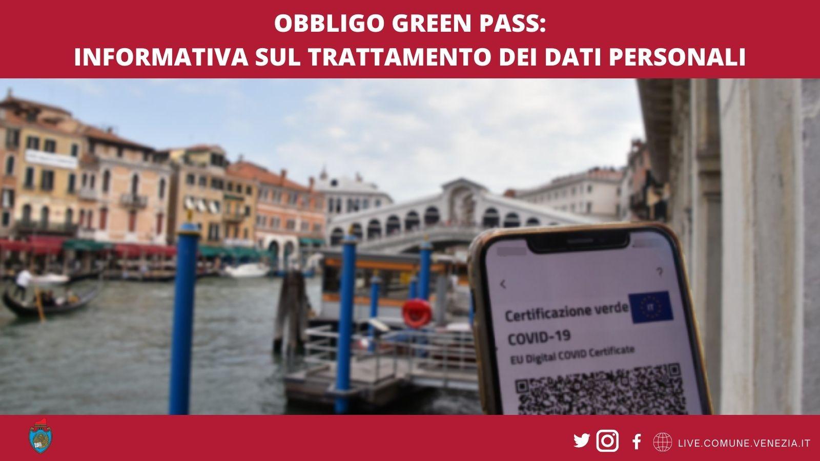 Obbligo Green pass: informativa dati personali