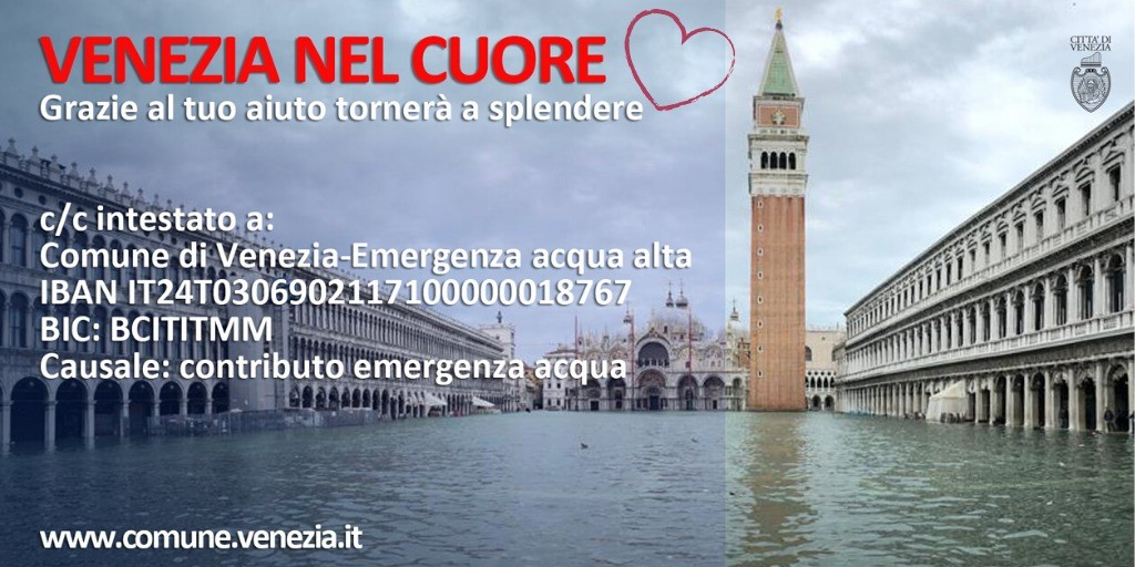 Alta marea eccezionale: donazioni dall'Italia e dall'estero