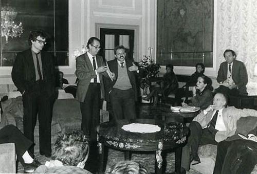Conferenza stampa di presentazione del film di Wim Wenders, Hotel Europa, Venezia, febbraio 1986